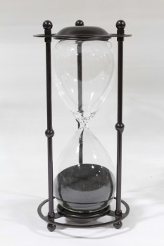 Decorative, Hourglass, BLACK SAND, GLASS, BLACK