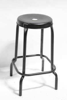 Stool, Round, INDUSTRIAL SHOP/GARAGE/WORK STYLE, FOOT RING, ROUND TOP W/HOLE , METAL, BLACK