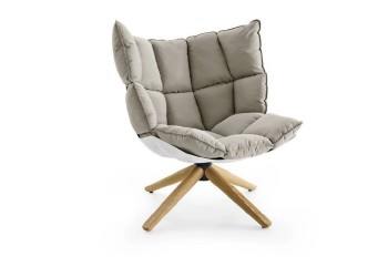 Chair, Lounge, MODERN, LOUNGE, LOW BACK, DIVIDED PORTION DOWN CUSHION SEATING, NATURAL ASH WOOD LEGS, FIBERGLASS, GREY