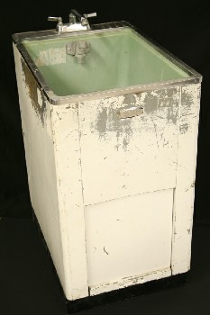 Plumbing, Sink, GREEN SINK UNIT,AGED (Condition Not Identical To Photo), METAL, WHITE