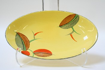 Decorative, Plate, OVAL W/PAINTED ORANGE,GREEN & BROWN SEED DESIGNS, CERAMIC, YELLOW