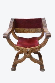 Chair, Misc, WALNUT, RENAISSANCE STYLE (Also 'DANTE' Or 'SAVONAROLA'), HIP-JOINT/CROSS FRAME CHAIR, FOLDING SCISSOR LEGS, CARVED W/ACANTHUS LEAVES & ROSETTE, CLAW FEET W/TRESTLE, RED VELVET UPHOLSTERY W/GOLD FRINGE & STUDDED TRIM, WOOD, RED