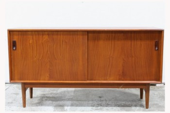 Sideboard, Wood, DANISH TEAK HUTCH,BUFFET CABINET,2 SLIDING DOORS , WOOD, BROWN