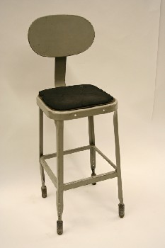 Stool, Backrest, OVAL SEAT BACK, SQUARE SEAT - Black Foam Seat Material Distressed/Gone, Not Identical To Photo, METAL, GREY
