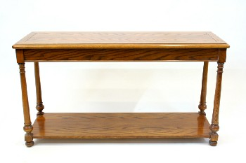 Table, Console, SOFA/HALL TABLE,ROUNDED EDGES,LOWER SHELF, TURNED LEGS, BALL FEET, WOOD, BROWN