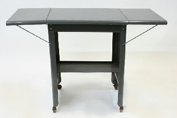 Table, Misc, UTILITY/WORK CART W/DROP LEAF SHELVES,TYPING STAND, ROLLING , METAL, GREY