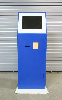 Store, ATM, ATM,CASH/BANK MACHINE,EUROPEAN STYLE,STANDING, WHITE TRIM W/BASE (Productions Can Apply Their Own Removable Decals To This Kiosk) , METAL, BLUE