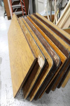 Table, Folding, 4' PLYWOOD TOP,BLACK METAL FOLDING LEGS - All In Various Used Condition, WOOD, BROWN