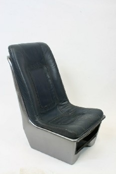 Chair, Misc, BUCKET SEAT FOR HELICOPTER/AIRCRAFT,REMOVEABLE BLUE LEATHER CUSHION , PLASTIC, GREY
