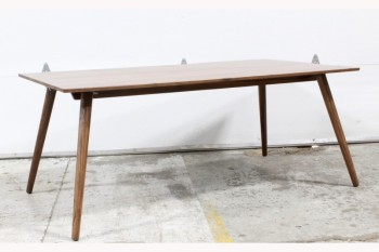 Table, Dining, MODERN,WALNUT,RECTANGULAR TOP,ANGLED TAPERED LEGS, SEATS 6 , WOOD, BROWN
