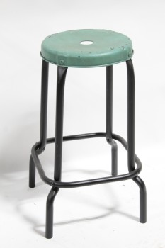 Stool, Round, INDUSTRIAL SHOP/GARAGE/WORK STYLE, FOOT RING, ROUND TOP W/HOLE PAINTED GREEN, AGED, METAL, GREEN