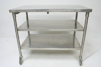 Table, Stainless Steel, 2 LOWER SHELVES,ROLLING , STAINLESS STEEL, SILVER