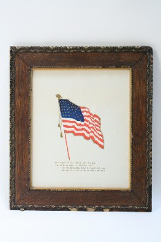 Wall Dec, Americana, CLEARABLE, U.S.A. FLAG W/TEXT,ORNATE FRAME, WOOD, MULTI-COLORED