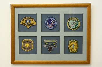 Wall Dec, Collection, CLEARABLE, DISPLAY OF 6 VARIOUS PATCHES, BLUE MATTE, LIGHT STAINED FRAME, WOOD, MULTI-COLORED