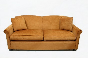Sofa, Loveseat, CONTEMPORARY W/ROUNDED BACK,WOOD FEET, 2 CUSHIONS, FABRIC, BROWN
