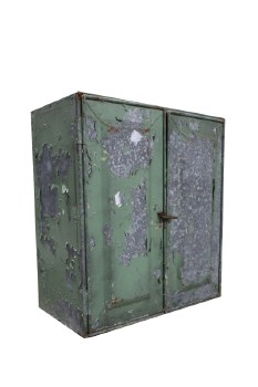 Cabinet, Rustic , 2 DOOR,2 SLOTTED LEVELS INSIDE,GALVANIZED,AGED, PEELING PAINT, METAL, GREEN