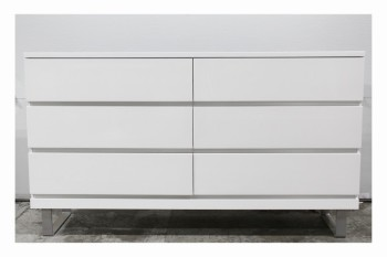 Dresser, Miscellaneous, MODERN,6 DRAWERS,GLOSSY FINISH,BRUSHED ALUMINUM CONNECTED LEGS , LACQUER, WHITE