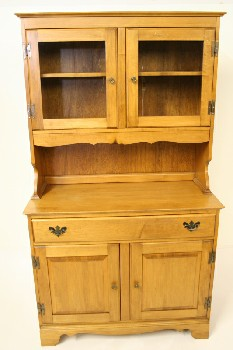 Buffet/Hutch, Shelf Top, MAPLE,2 GLASS DOORS (TOP),2 DRAWERS,2 DOORS (BOTTOM), WOOD, BROWN