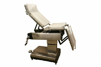 Chair, Medical, HOSPITAL OPERATING/SURGICAL,ARTICULATING PARTS/HEIGHT FOR PATIENT POSITIONING, WHITE PLEXI COVERS, ROLLING, STAINLESS STEEL, SILVER