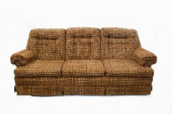 Sofa, Three Seat, BUTTON TUFTED BACK,PLAID TEXTURED UPHOLSTERY, COVERED ARMS & PLEATED SKIRT, FABRIC, BROWN
