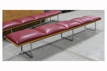 Bench, Seats, 4 RED VINYL CUSHIONS ON WOOD,GREY METAL LEGS, BACKLESS , VINYL, RED