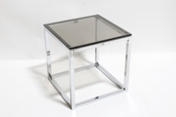 Table, Side, SQUARE/CUBE,SMOKED GLASS TOP (NOT ATTACHED), MODERN, GLASS, SILVER