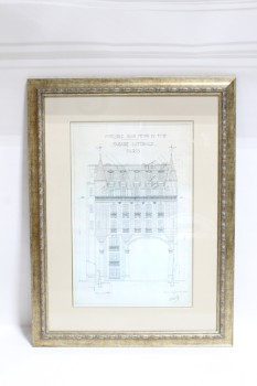 Art, Drawing, CLEARABLE,PUBLIC DOMAIN, METALLIC FRAME, BEIGE MATTING,