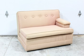 Sofa, Sectional, VINTAGE, HALF OF SECTIONAL, ARM ON 1 SIDE, BUTTON TUFTED BACK, SQUARES PATTERNED UPHOLSTERY, VERY SUN FADED, AGED, FABRIC, PINK