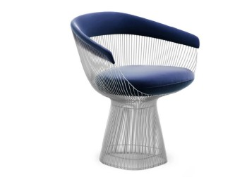 Chair, Armchair, MODERN, SEMI MATTE, CHROME FINISH, WIRE BASE, BLUE VELVET SEAT & BACK, WARREN PLATNER, VELVET, BLUE
