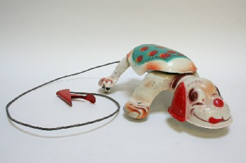 Toy, Animal, VINTAGE MECHANICAL DOG ON WHEELS W/PULL CORD, METAL, MULTI-COLORED