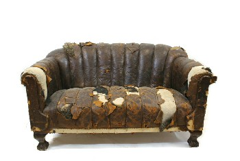 Sofa, Loveseat, ROLL ARM,SCALLOPED/SHELL BACK SEAT, CLAW FEET, RIPPED/AGED (Stock Photo Only, Condition Not Identical), LEATHER, BLACK