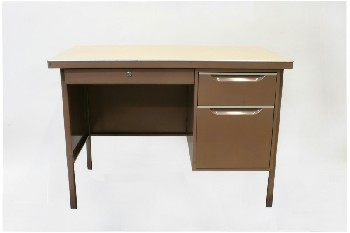 Desk, Metal, 1 LEFT & 2 RIGHT SIDE DRAWERS,LAMINATE TOP, METAL, BROWN