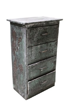 Cabinet, Rustic , 4 DRAWERS,PEELING ALL OVER, RUSTIC, DISTRESSED/DIRTY , WOOD, GREEN