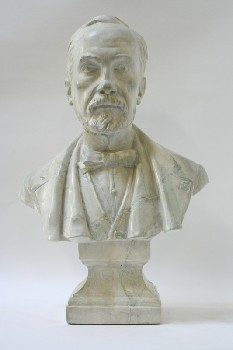 Statuary, Bust, MAN,PASTEUR W/BOWTIE ON SQUARE BASE, PLASTER, OFFWHITE