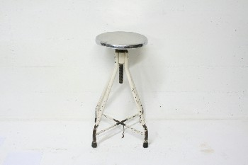 Stool, Stainless, MEDICAL,ROUND STAINLESS SEAT,PAINTED OFFWHITE METAL LEGS, METAL, OFFWHITE