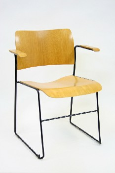 Chair, Client, MODERN MOULDED PLYWOOD W/BLK METAL FRAME W/ARMS, STACKABLE , WOOD, BROWN