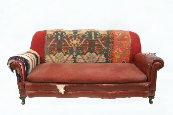Sofa, Three Seat, ROLL ARM,DARK WOOD CLAW FEET, RIPPED/AGED (Stock Photo Only, Condition Not Identical), LEATHER, RED