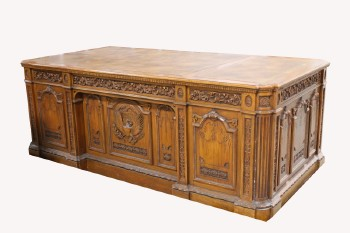 Desk, Wood, LARGE PARTNER'S/PRESIDENTIAL DESK W/CARVED EAGLE FRONT, DOUBLE PEDESTAL, CARVED PANELS & EAGLE FRONT, USA/AMERICA, WHITE HOUSE/OVAL OFFICE , WOOD, BROWN