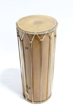 Music, Drum, CONGA,PORTABLE,CYLINDRICAL W/SLIGHT TAPER, WOOD BARREL, HIDE SKINS, LEATHER STRINGS , WOOD, BROWN
