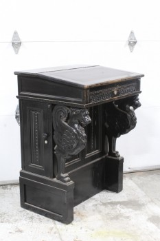 Podium, Misc, DOORMAN'S DESK, HINGED ANGLED TOP, CARVED ANIMALS, CLAW FEET, SMALL CABINETS W/DOORS ON EACH SIDE, PANELED FRONT, WORN AROUND FRONT EDGE & LOCK, WOOD, BLACK