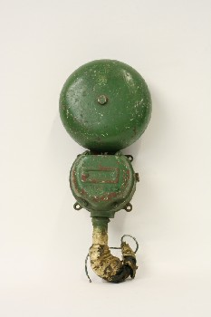 Fire, Bell, 2 SECTIONS W/TAPED PIPE END, METAL, GREEN