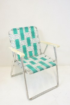 Chair, Folding, OUTDOOR/LAWN,STRIPED W/WHITE PLASTIC,TUBULAR FRAME, NYLON, GREEN