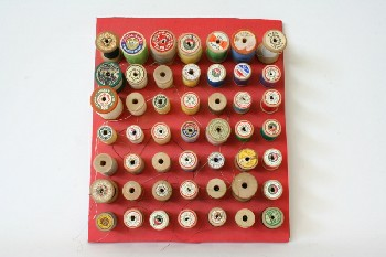 Sewing, Misc, 49 SPOOLS OF MULTICOLOURED THREAD GLUED TO RED BACKING , WOOD, RED
