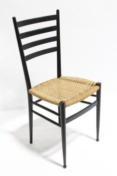 Chair, Dining, MODERN,NATURAL RATTAN WOVEN SEAT, 4 HORIZONTAL BARS ON BACK REST , WICKER, BLACK