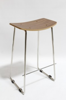 Stool, Rectangular, MODERN,CURVED WOOD SEAT,CHROME CONNECTED LEGS W/FOOT BAR , WOOD, BROWN
