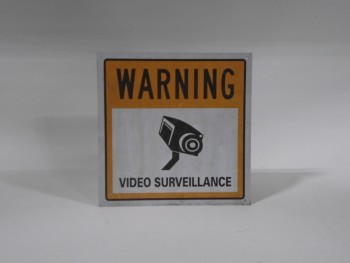Sign, Prohibit, WARNING VIDEO SURVEILLANCE, WHITE BACKGROUND, BLACK TEXT, PLASTIC, WHITE