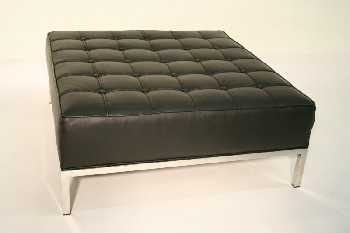 Stool, Ottoman, MODERN STYLE, SQUARE, TUFTED CUSHION, CHROME FRAME & LEGS, LEATHER, BLACK