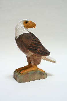 Decorative, Bird, EAGLE LOOKING BACK, WOOD, MULTI-COLORED