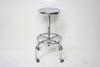 Stool, Stainless, MEDICAL,ROUND SEAT,ROLLING , STAINLESS STEEL, SILVER