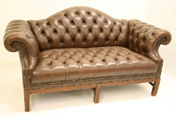 Sofa, Loveseat, ROLL ARM, CAMELBACK, BUTTON TUFTED, TACK TRIM, DARK WOOD LEGS, LEATHER, BROWN